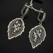Кубачинские серебряные серьги ручной работы с гравировкой арт.7495
