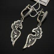 Кубачинские серебряные серьги ручной работы с гравировкой арт.7499