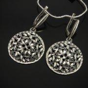 Кубачинские серебряные серьги ручной работы с гравировкой арт.7501