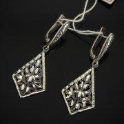 Кубачинские серебряные серьги ручной работы с гравировкой арт.7504