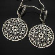 Кубачинские серебряные серьги ручной работы с гравировкой арт.7509