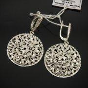Кубачинские серебряные серьги ручной работы с гравировкой арт.7523