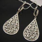 Кубачинские серебряные серьги ручной работы с гравировкой арт.7524