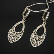 Кубачинские серебряные серьги ручной работы с гравировкой арт.7527