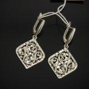Кубачинские серебряные серьги ручной работы с гравировкой арт.7528