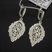 Кубачинские серебряные серьги ручной работы с гравировкой арт.7530