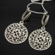 Кубачинские серебряные серьги ручной работы с гравировкой арт.7532