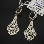 Кубачинские серебряные серьги ручной работы с гравировкой арт.7539