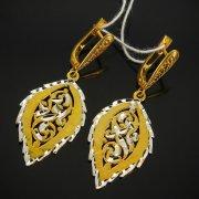 Кубачинские серебряные серьги с позолотой ручной работы арт.7553
