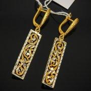 Кубачинские серебряные серьги с позолотой ручной работы арт.7558