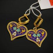 Кубачинские серебряные серьги с эмалью ручной работы арт.7585