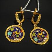 Кубачинские серебряные серьги с эмалью ручной работы арт.7586