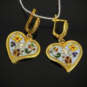 Кубачинские серебряные серьги с эмалью ручной работы арт.7587