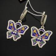 Кубачинские серебряные серьги с эмалью ручной работы арт.7593
