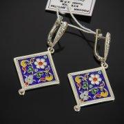 Кубачинские серебряные серьги с эмалью ручной работы арт.7594