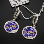 Кубачинские серебряные серьги с эмалью ручной работы арт.7598