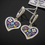 Кубачинские серебряные серьги с эмалью ручной работы арт.7601