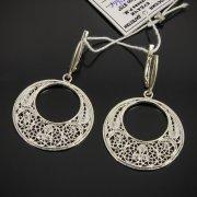 Кубачинские серебряные серьги с филигранью ручной работы арт.7604