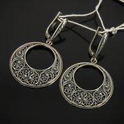 Кубачинские серебряные серьги с филигранью ручной работы арт.7605