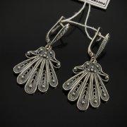 Кубачинские серебряные серьги с филигранью ручной работы арт.7613