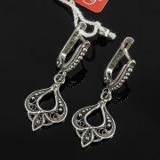 Кубачинские серебряные серьги с филигранью ручной работы арт.7861