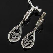 Кубачинские серебряные серьги с филигранью ручной работы арт.7865