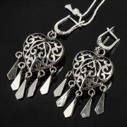 Кубачинские серебряные серьги с филигранью ручной работы арт.7869