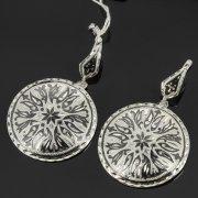 Кубачинские серебряные серьги ручной работы с чернением арт.7900