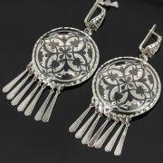 Кубачинские серебряные серьги ручной работы с чернением арт.7901