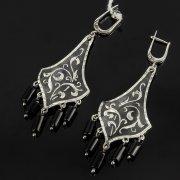 Кубачинские серебряные серьги ручной работы с чернением (камень - агат) арт.7905