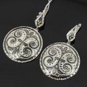 Кубачинские серебряные серьги ручной работы с чернением арт.7911