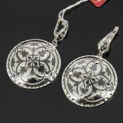Кубачинские серебряные серьги ручной работы с чернением арт.7912