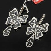Кубачинские серебряные серьги ручной работы с чернением арт.7914