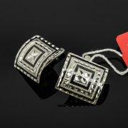 Кубачинские серебряные серьги ручной работы с чернением арт.7930