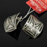 Кубачинские серебряные серьги ручной работы с чернением арт.7931