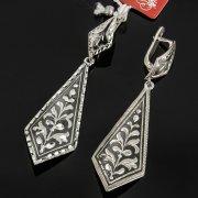 Кубачинские серебряные серьги ручной работы с чернением арт.7934