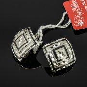 Кубачинские серебряные серьги ручной работы с чернением арт.7937