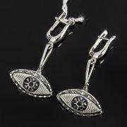 Кубачинские серебряные серьги ручной работы с чернением арт.7938