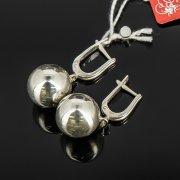 Кубачинские серебряные серьги шары ручной работы арт.8022