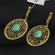 Кубачинские серебряные серьги с позолотой ручной работы (камень - бирюза) арт.8049