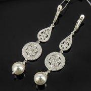Кубачинские серебряные серьги с филигранью ручной работы (камень - жемчуг) арт.8063
