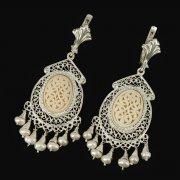 Кубачинские серебряные серьги ручной работы с филигранью (жемчуг, слоновая кость, камень - цирконий) арт.9425