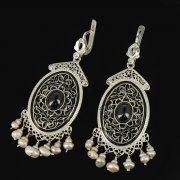 Кубачинские серебряные серьги ручной работы с филигранью (жемчуг, камень - агат) арт.9429