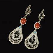 Кубачинские серебряные серьги ручной работы с филигранью (камень - бирюза, янтарь) арт.9433