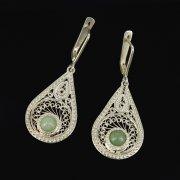 Кубачинские серебряные серьги ручной работы с филигранью (камень - кошачий глаз) арт.9435
