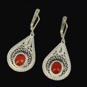 Кубачинские серебряные серьги ручной работы с филигранью (камень - янтарь) арт.9436