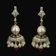Кубачинские серебряные серьги ручной работы с филигранью (жемчуг, камень - янтарь) арт.9462