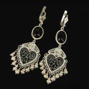 Кубачинские серебряные серьги ручной работы с филигранью (жемчуг, камень - агат) арт.9465