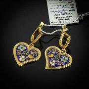 Кубачинские серебряные серьги ручной работы арт.5528