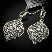 Кубачинские серебряные серьги ручной работы с чернением арт.5532